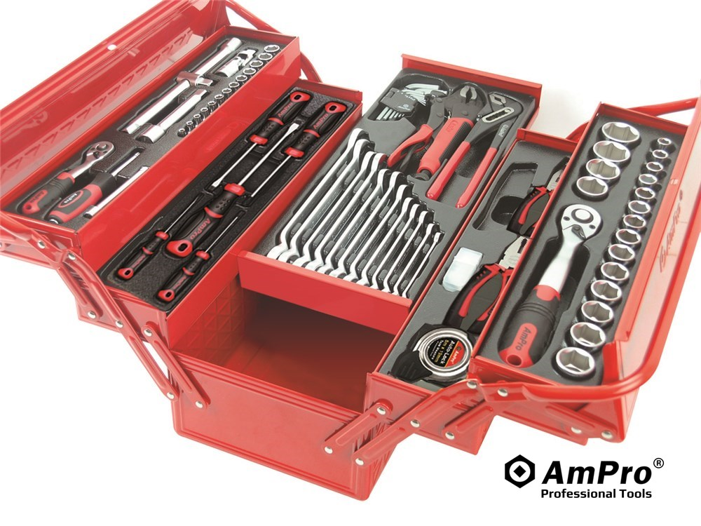 """Electric Grease Gun >> 76PC 1/4"""" & 1/2"""" DR. TOOL SET W/5-TIER CANTI-LEVER METAL ..."""